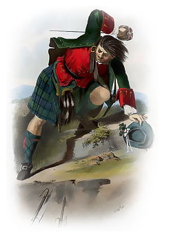 "The mid-19th century R. R. McIan illustration of a Mackenzie Clansman as published in the ""The Clans of the Scottish Highlands."""